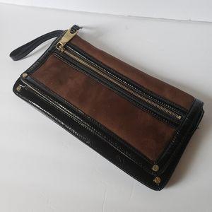 Dana Buchman clutch bag brown black